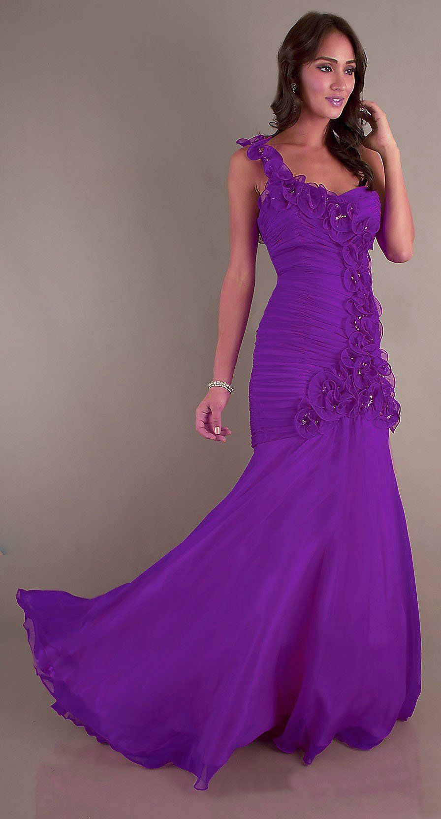 Ruched Long Formal Purple Dress One Strap Flowers Mermaid Skirt ...