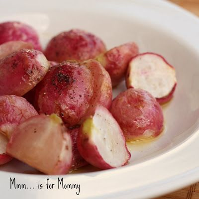 Maple Roasted Radishes- Roast at 400 for 30 min 2 tbs olive oil 2 tbs maple syrup 1 bunch of radishes cut in half salt and pepper to taste