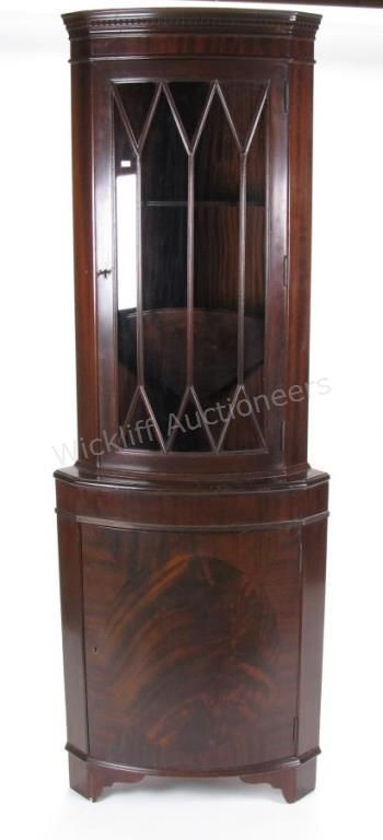 Period Style Mahogany Bow Front Corner Cabinet, With Glass Door Having  Individual Panes