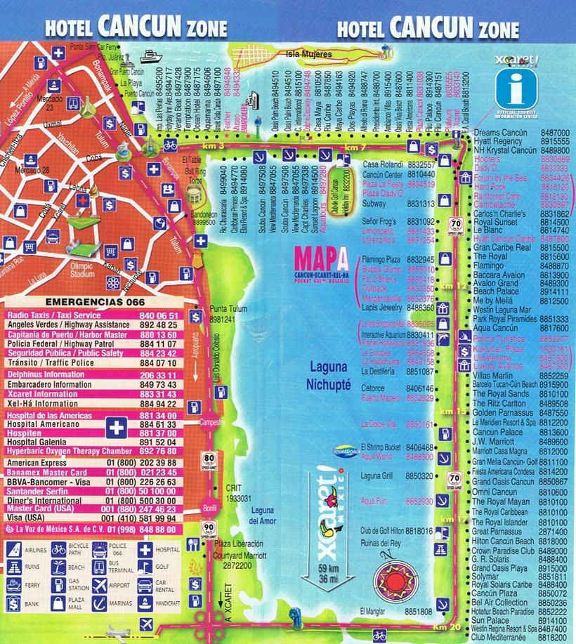 Cancun Hotel Zone Map With Phone Numbers