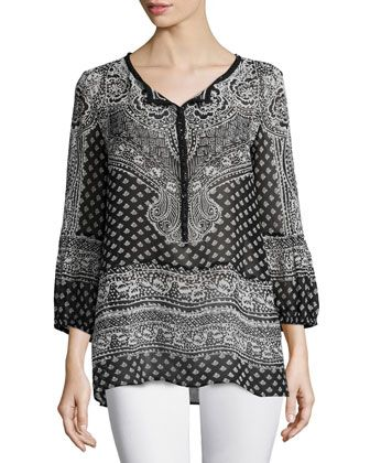 Moi+Long-Sleeve+Printed+Top,+Black+by+Calypso+St.+Barth+at+Neiman+Marcus.