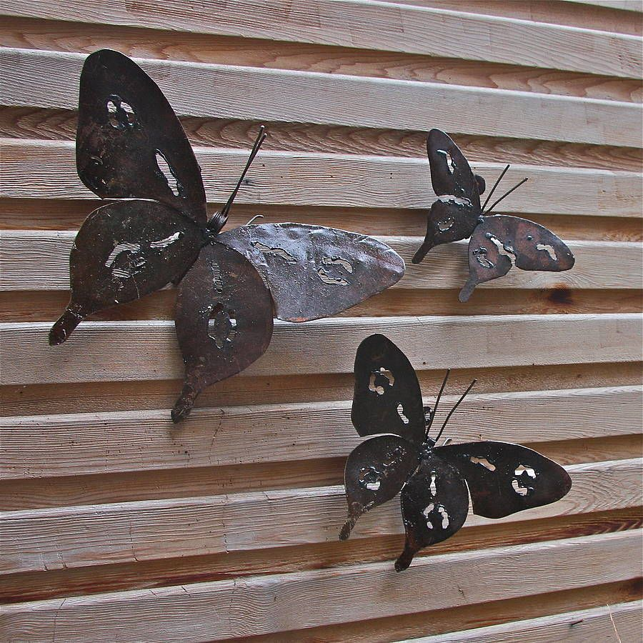 Metal butterfly garden wall art set of three garden wall for Outdoor butterfly decor