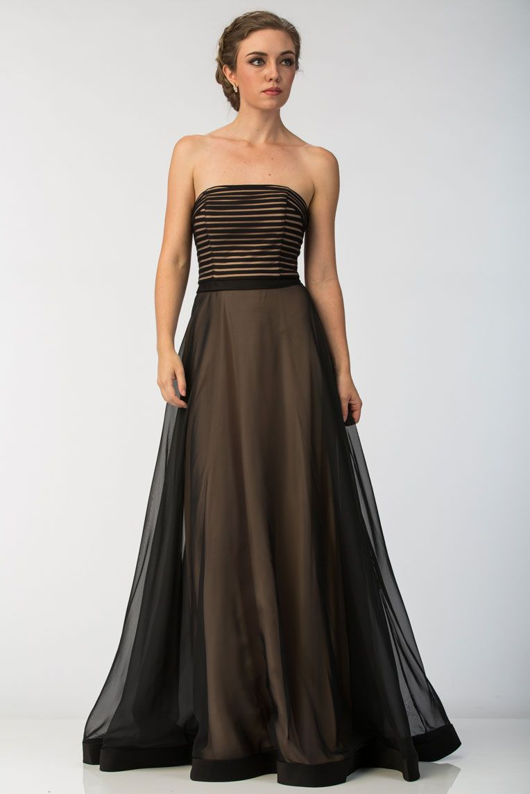 Strapless Prom Dress Ft87004 Full Length A Line Formal Evening Dress Has Horizontal Lined S Celebrity Prom Dresses Strapless Prom Dress Unique Prom Dresses [ 1145 x 764 Pixel ]