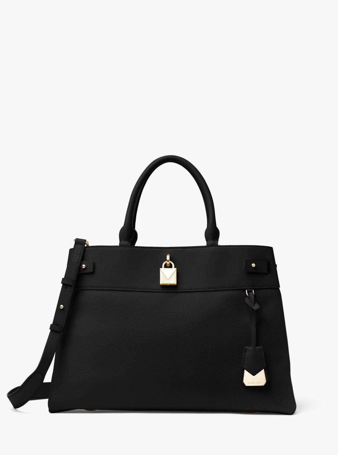 0a15089d71e8 Online Michael Kors Black Gramercy Large Leather Satchel Shop | MK ...