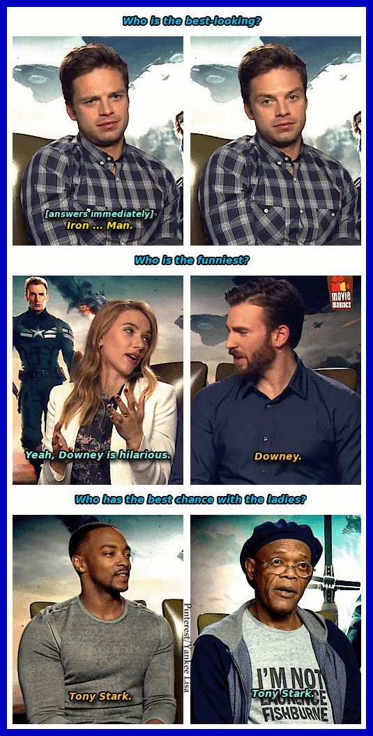 I love that they're all in agreement on who is the best looking and funniest Avenger. Tony Stark