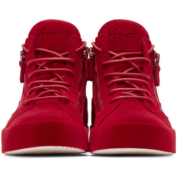 32d48a621f520 Giuseppe Zanotti Red Flocked May London High-Top Sneakers ($840) ❤ liked on  Polyvore featuring men's fashion, men's shoes, men's sneakers, mens zipper  ...