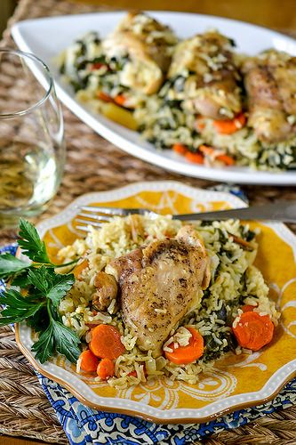 One-Pot Chicken & Rice with Swiss Chard - can sub spinach, cooked with…