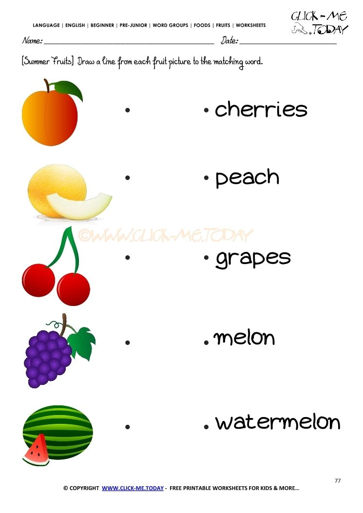 Fruits Worksheet 77 - Matching summer fruits names worksheet ...