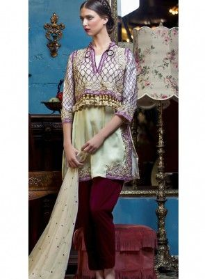 033d8af602 #Cream and #Maroon #JacketStyle Pakistani #Suit Features georgette fabric  top with embroidery and stone work,santoon inner and bottom, chiffon  dupatta.