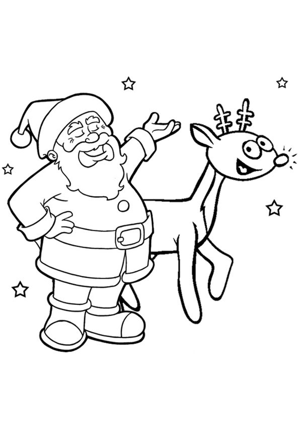 Free Online Santa Rudolph Colouring Page Kids Activity Sheets Christmas Colouring Pages Rudolph Coloring Pages Christmas Coloring Pages Kids Printable Coloring Pages