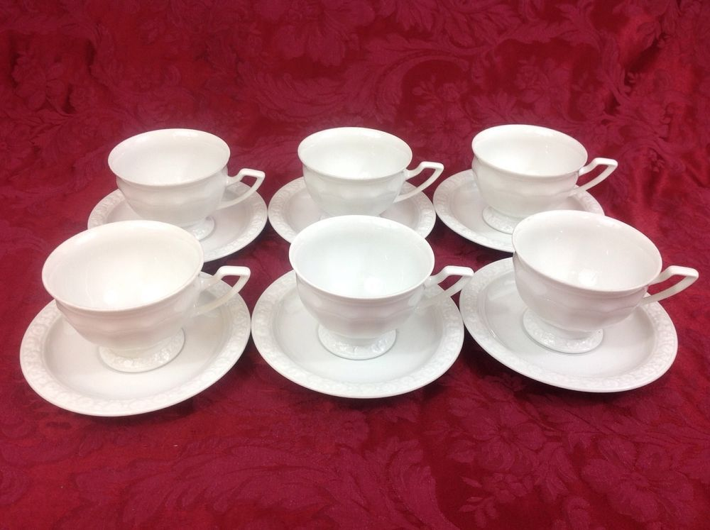 Rosenthal Maria White Six Cups And Saucers Rosenthal