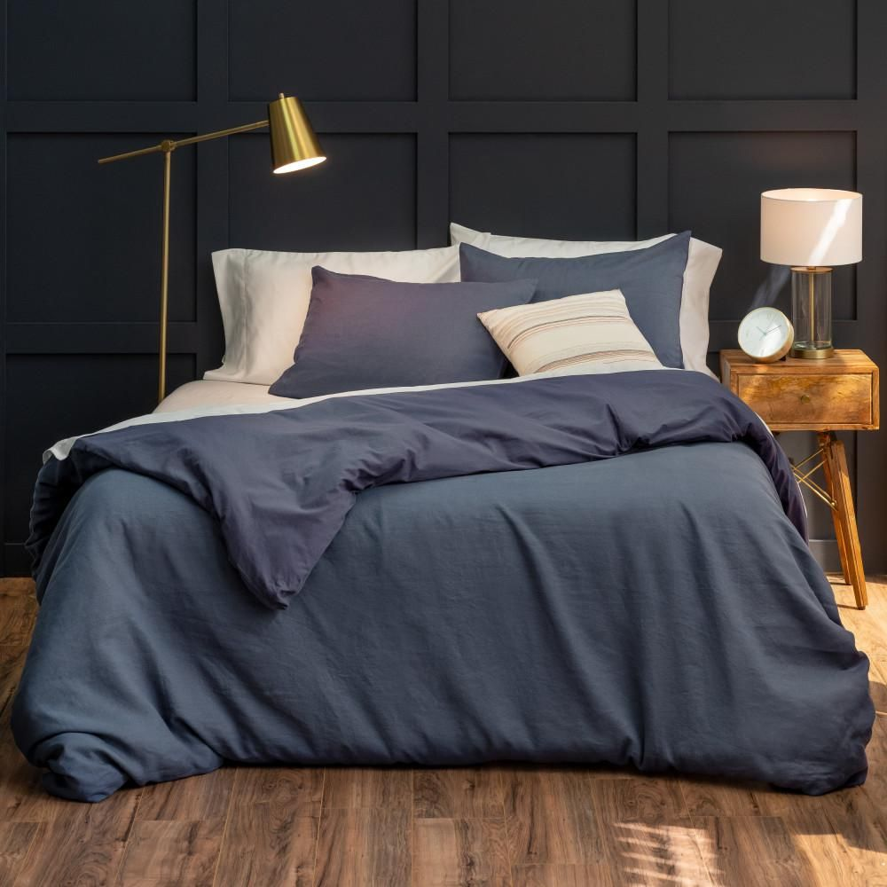 Welhome Relaxed Linen Cotton Navy Full Queen Duvet Cover Set Eplc Duv Flqn 03 The Home Depot In 2020 Duvet Cover Sets King Duvet Cover Sets Queen Duvet Covers