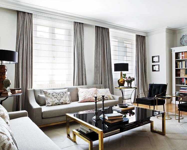 Interiors an elegant living room in black gray and gold - Black and gold living room curtains ...