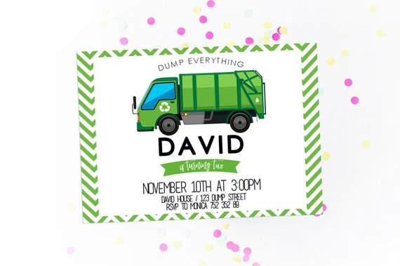 Garbage Truck Invitation Green Trash Boy Birthday Invite