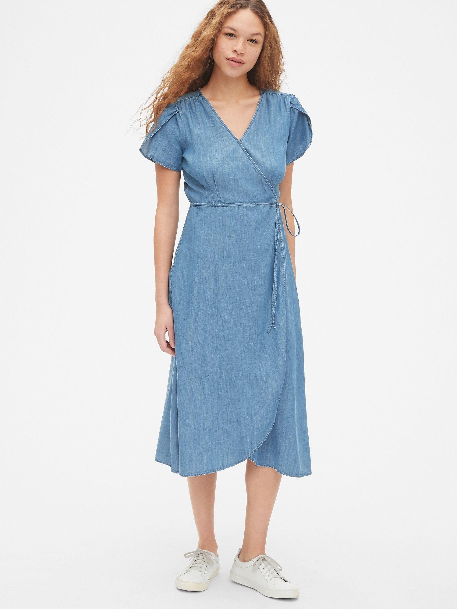 Gap short sleeve midi wrap dress in tencel dresses wrap