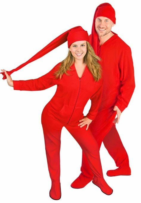 Matching Couples #Pajamas: Red Footed Pajamas w/ Drop Seat ...