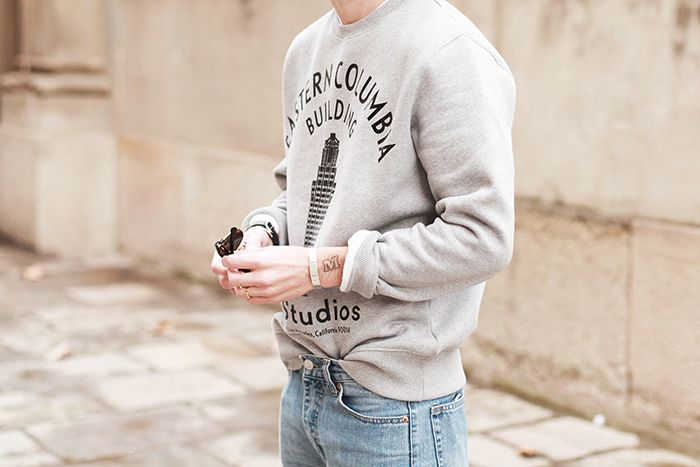 Acne Studios sweatshirt, Cheap Monday jeans, Le Gramme bracelets and Prada shoes