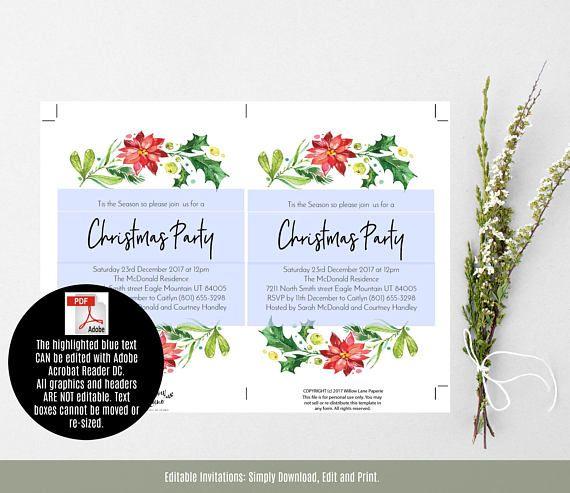 Christmas Invitation Template, Printable Holly Christmas Invitation