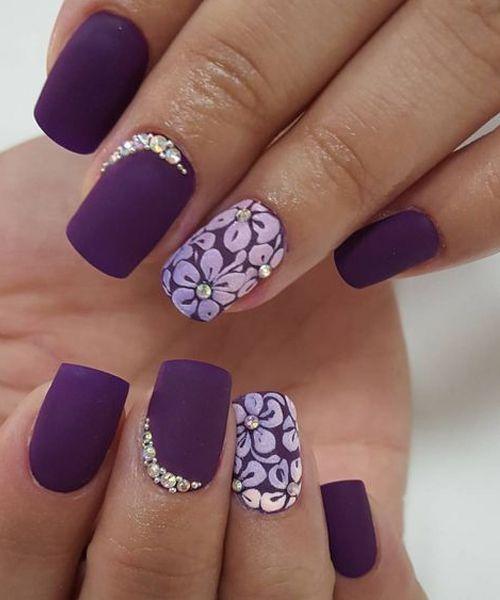Beautiful Shades Of Purple Floral Nail Art Designs Styles Beat Floral Nails Purple Nails Flower Nails