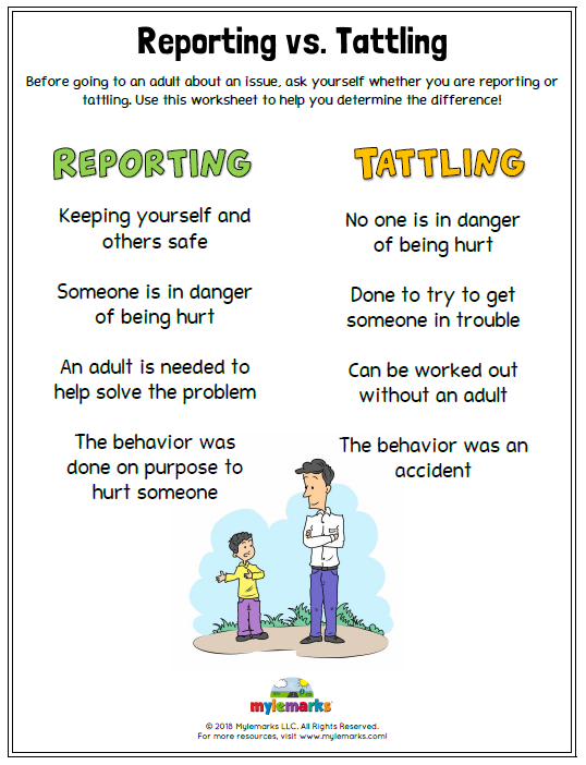 What's the difference between Reporting and Tattling? This ...