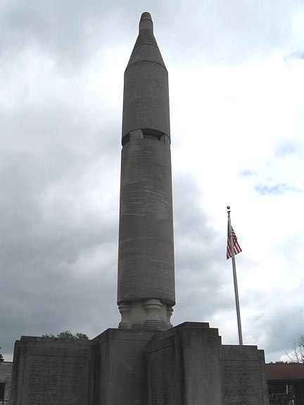 In Downtown Mitchell Indiana Stands The Gus Grissom Monument A Scaled Down Limestone Carving Of Gus S Gemini Rocket Monument Limestone Indiana