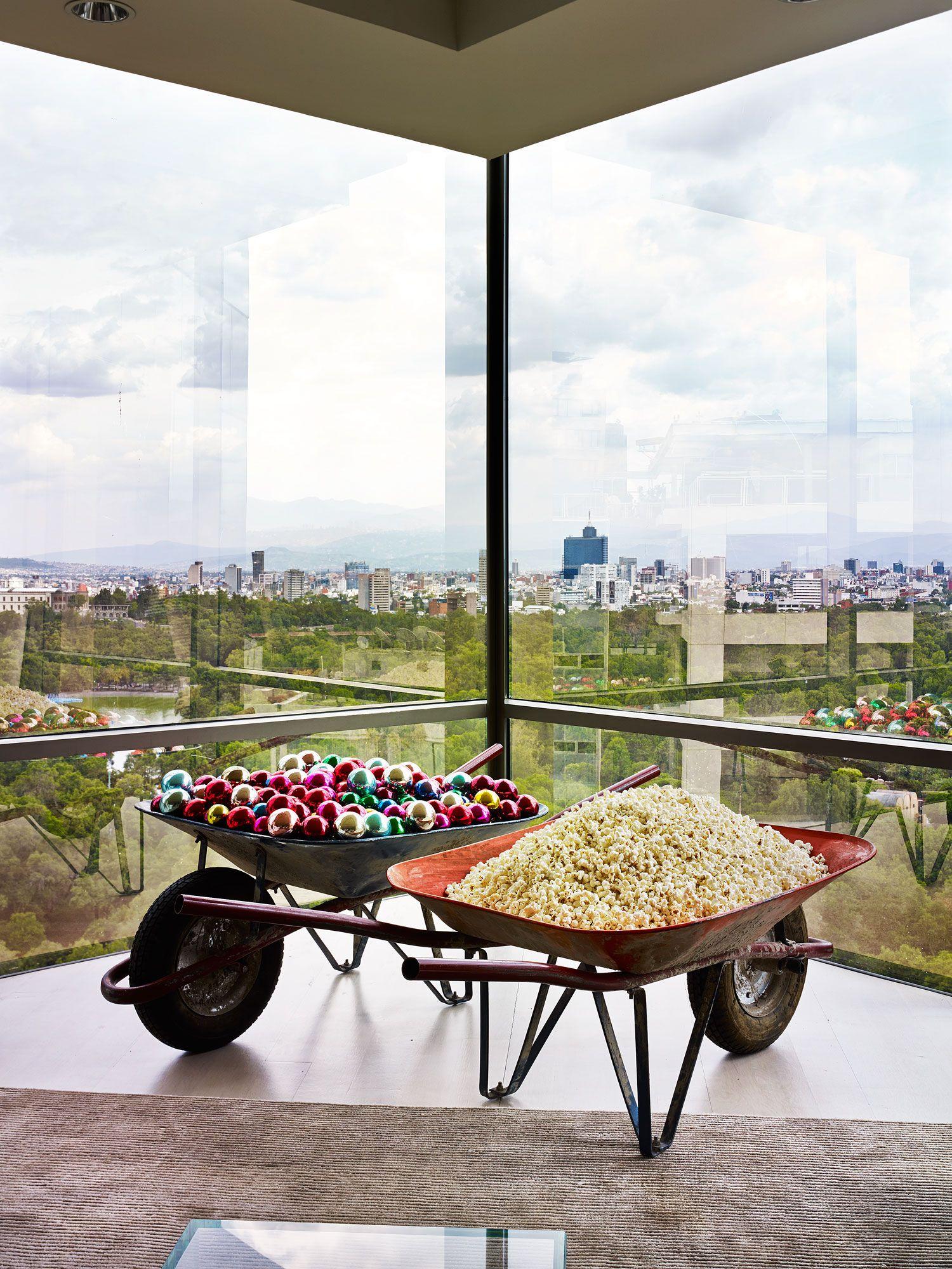 Art Nuevo - Gabriel Kuri's Carretilla IV, 1999, in the living room, with a view of Chapultepec Park.