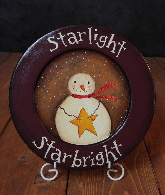 Primitive Vintage Hand Painted Decor Wood Plate Christmas Snowman Home Décor Art
