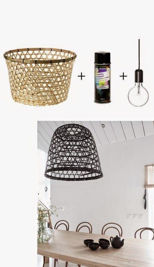 Como hacer una lampara con cestas de mimbre o de metal for Cestas mimbre ikea
