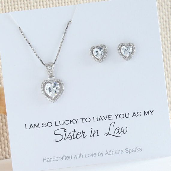 New Sister In Law Wedding Gift For Card Bridal Necklace And Earrings Set Bridesmaids S710s