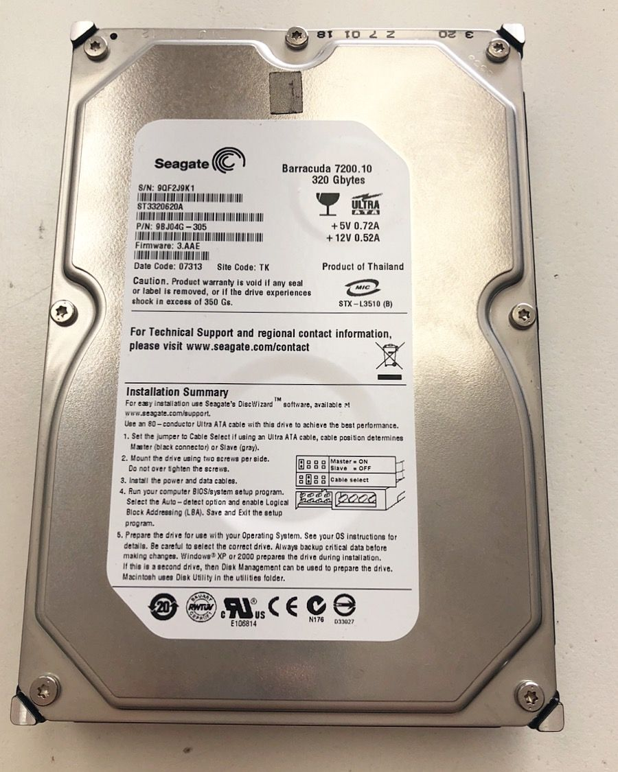 Working on a Seagate 320GB (ST3320620A) with weak heads  The