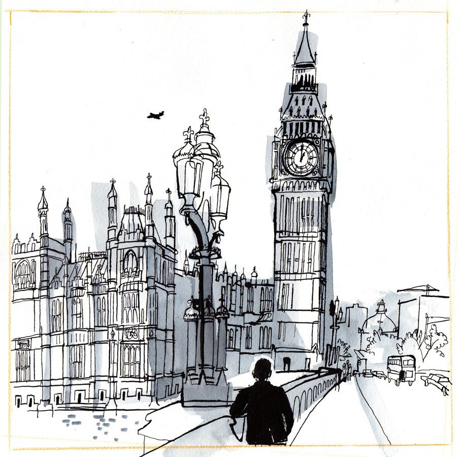 Reflection London drawing, Houses of parliament, Houses