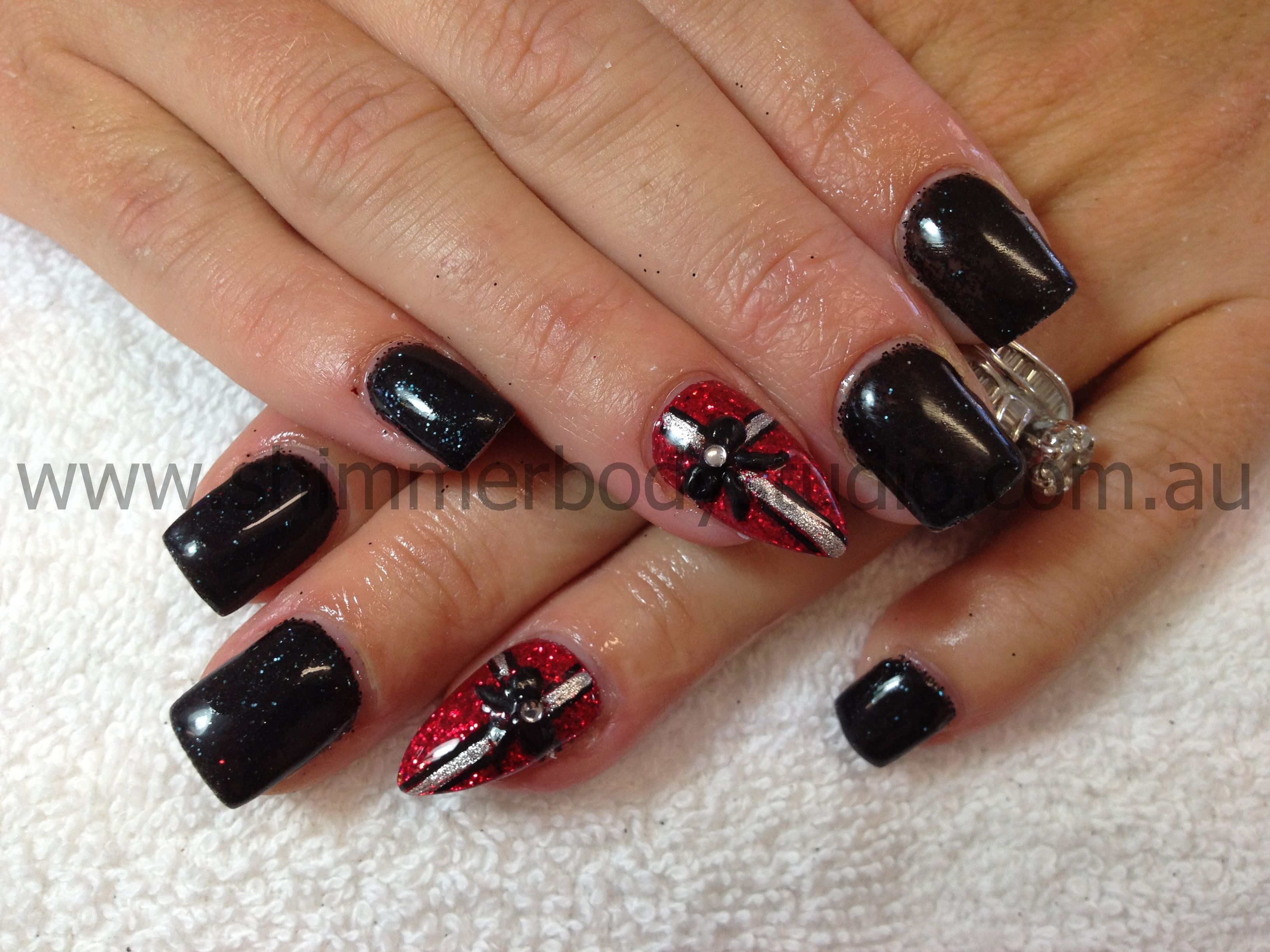 Gel nails, Christmas nails, red and black nails, present nails ...