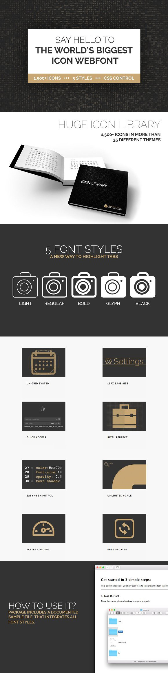 1500 Icon Webfont In 5 Styles Icons Fonts And Web Application