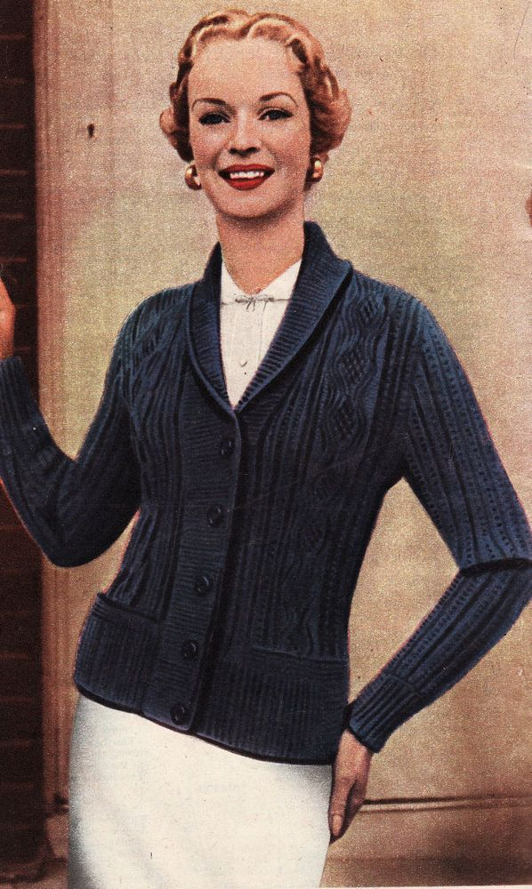 Vintage Knitting Pattern Ladies Cardigan Fits Up To 36 Bust Larger