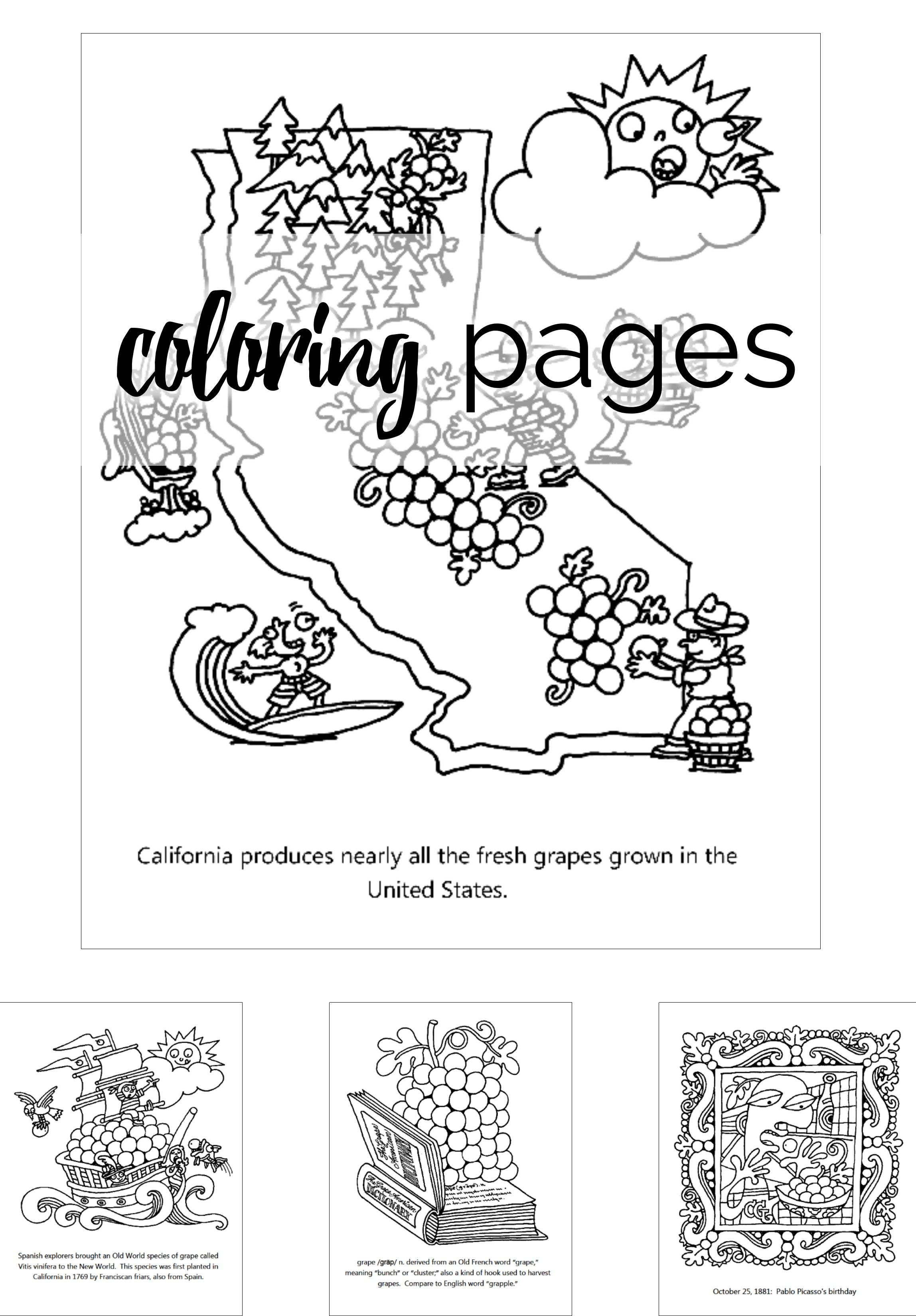 Download these free coloring pages featuring California grapes to ...