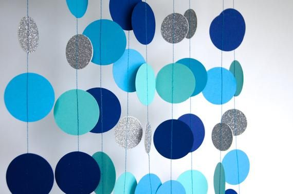 Boy Birthday Garland Its A Party Paper In Aqua Blue Navy And Silver Double Sided