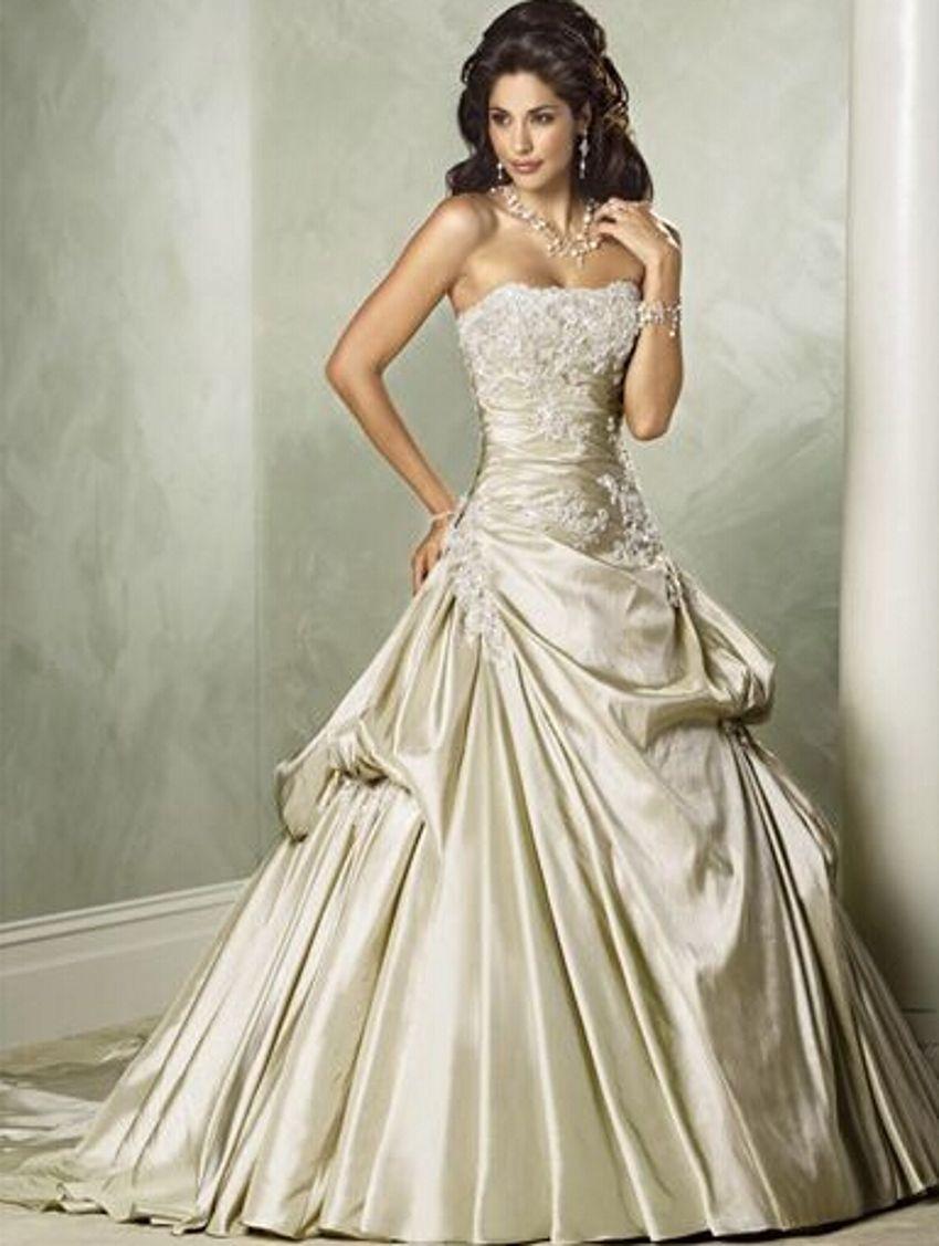 Sexy strapless satin a line vintage lace wedding dresses vestidos de