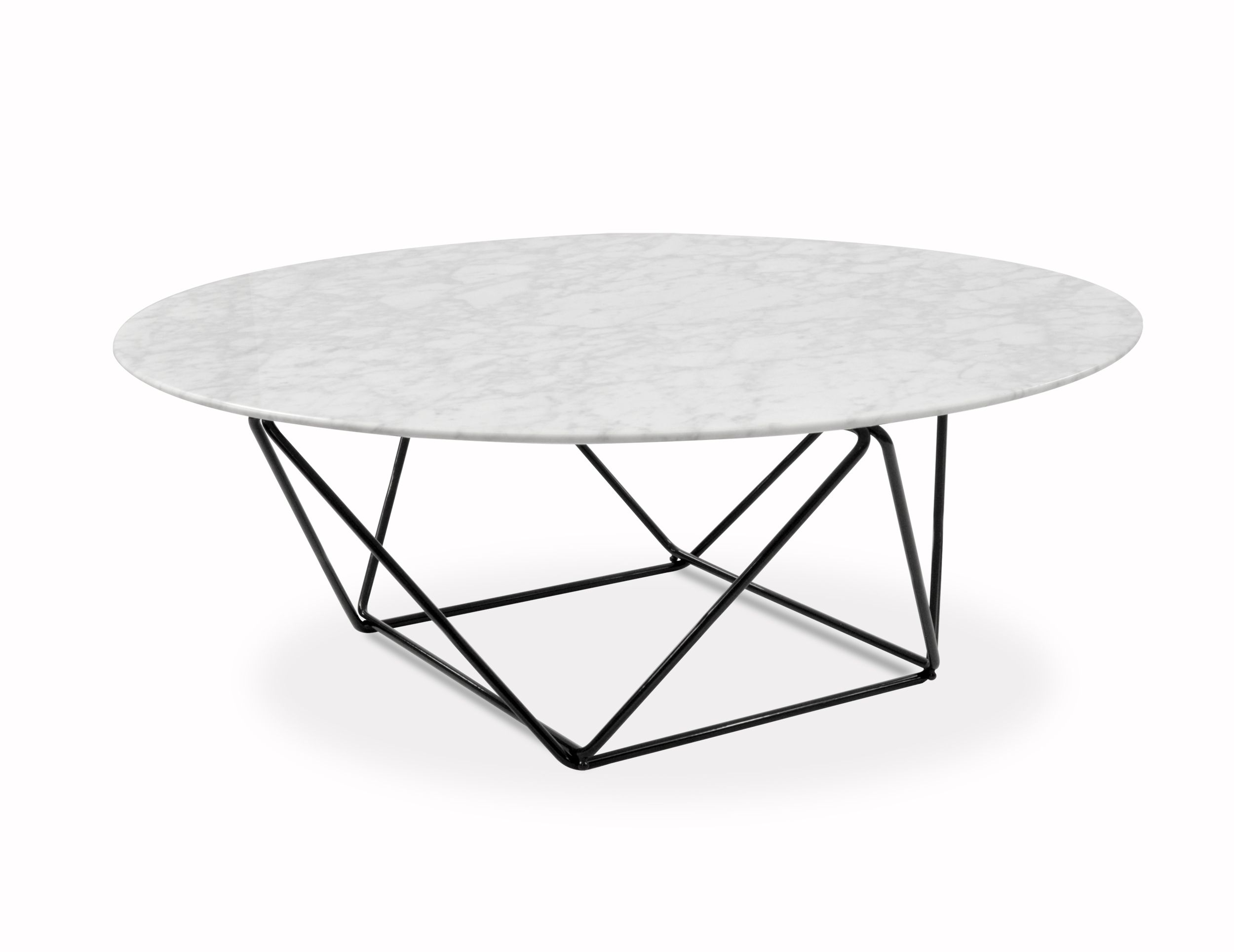 Robin 100cm Round Marble Coffee Table With Black Base Marble