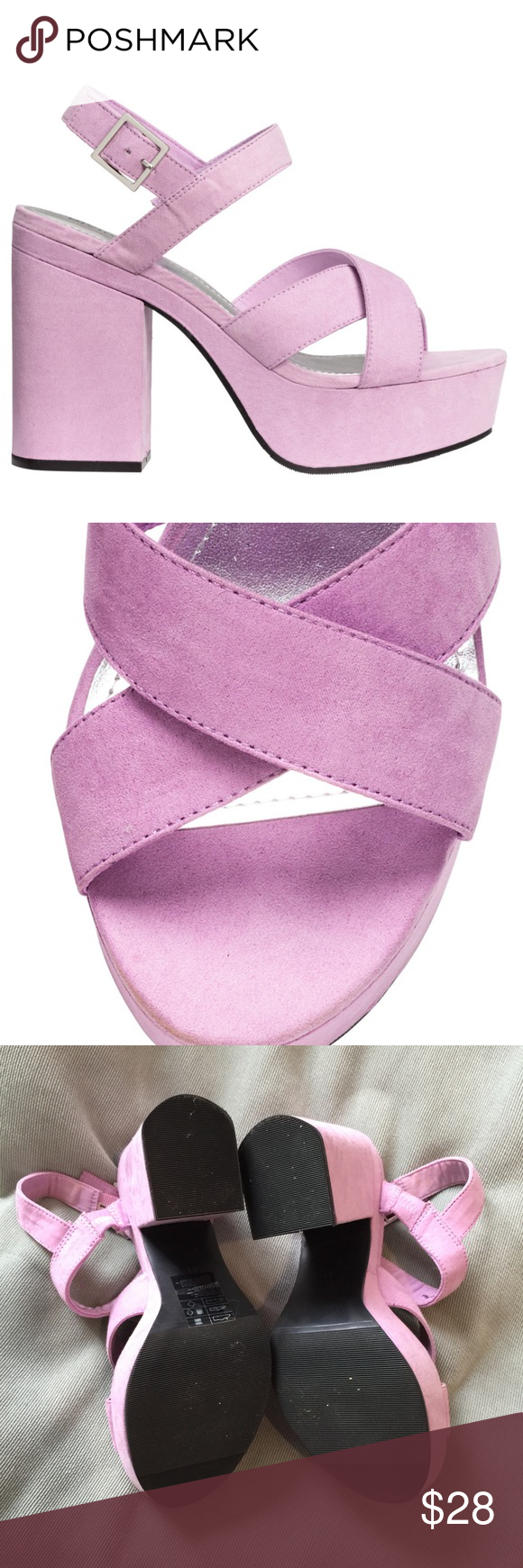 Gorgeous Purple Platform Sandals Foreground purple-ish platform sandals only worn once for an indoor photo shoot.  Love these, perfect for summer, I have another pair in black I wear constantly.  I find them very comfortable for a day or night out. Shoes Platforms
