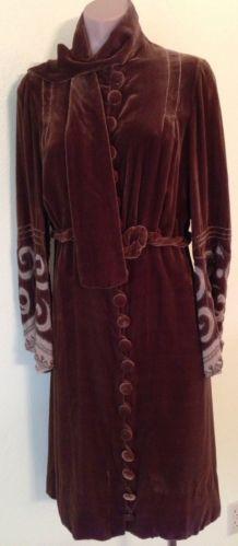 Vintage DRESS 1920's BROWN VELVET FLAPPER Gatsby ERA Hand BEADED Size M