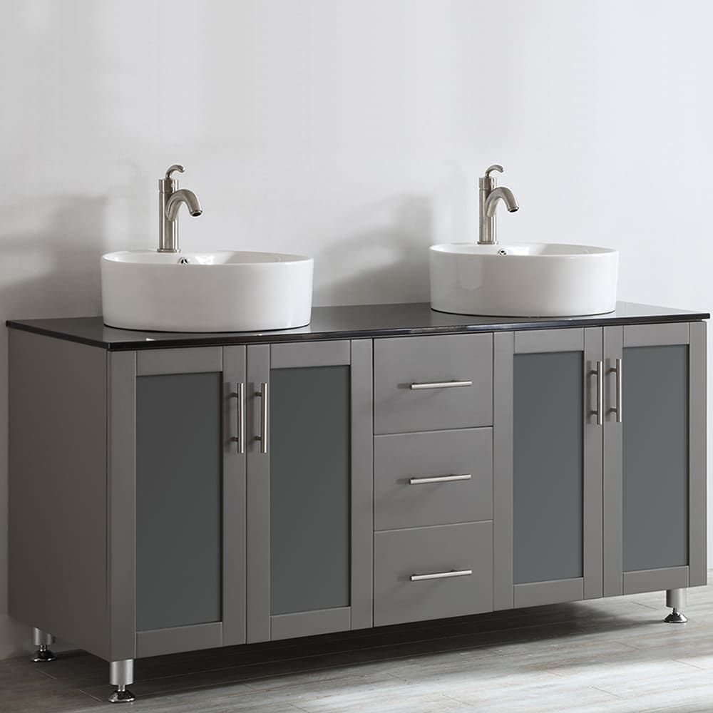 Vinnova Tuscany 60 Inch Grey Double Vanity With White Vessel Sink