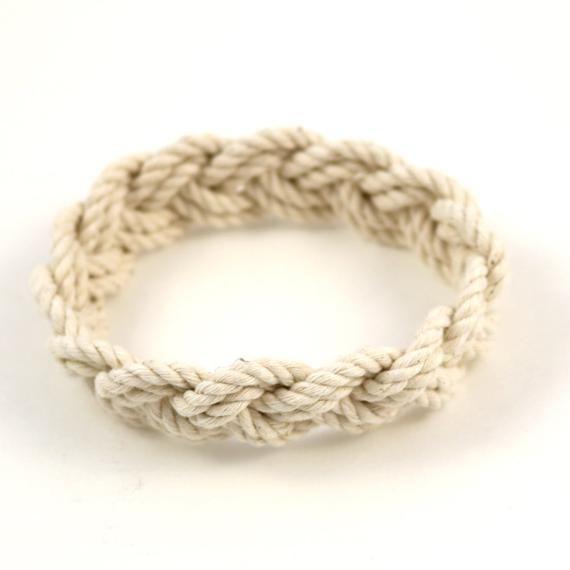 Rope Bracelet Narrow White Turks Head Knot In 2020 Bracelets