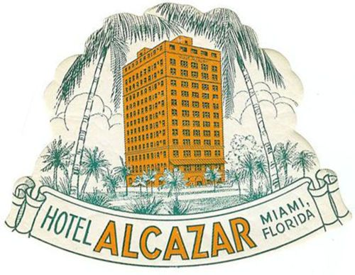 Miami Florida American Hotel Alcazar Luggage Label, Original Old Vintage baggage