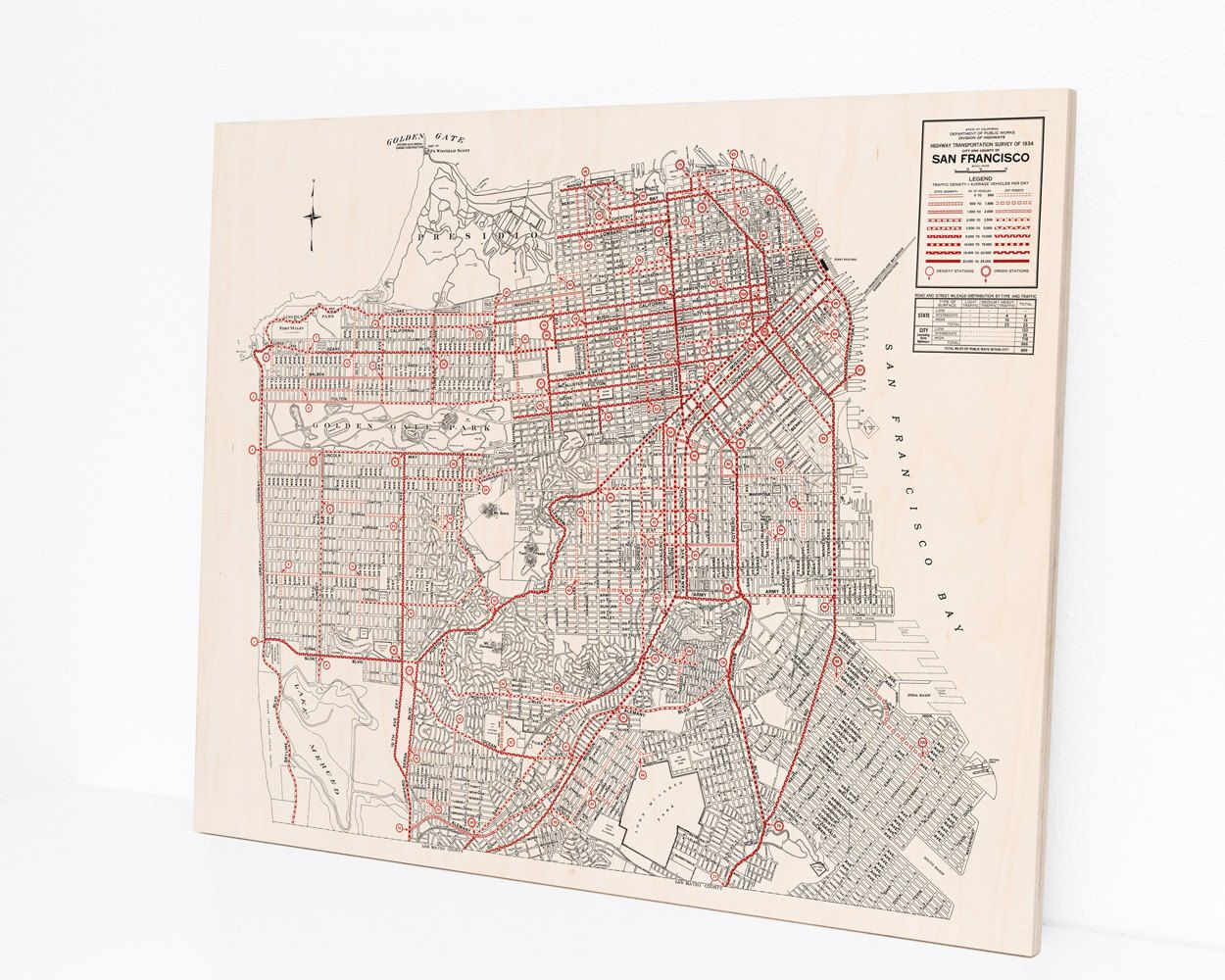 Wood Print Map San Francisco California in by DesignOutfitters