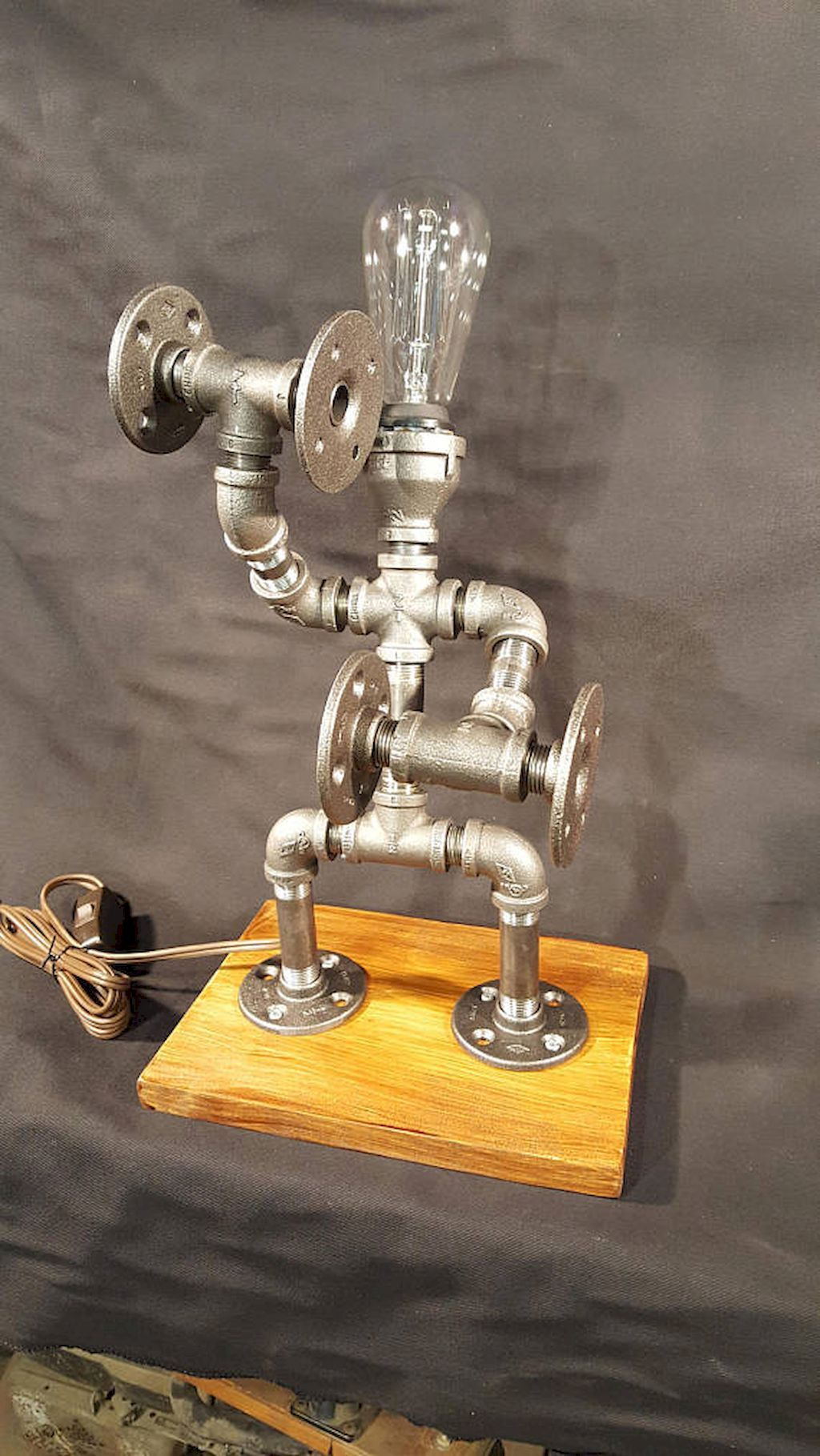 35 Creative DIY Industrial Pipe Lamp Design Ideas Robot to Decor ...