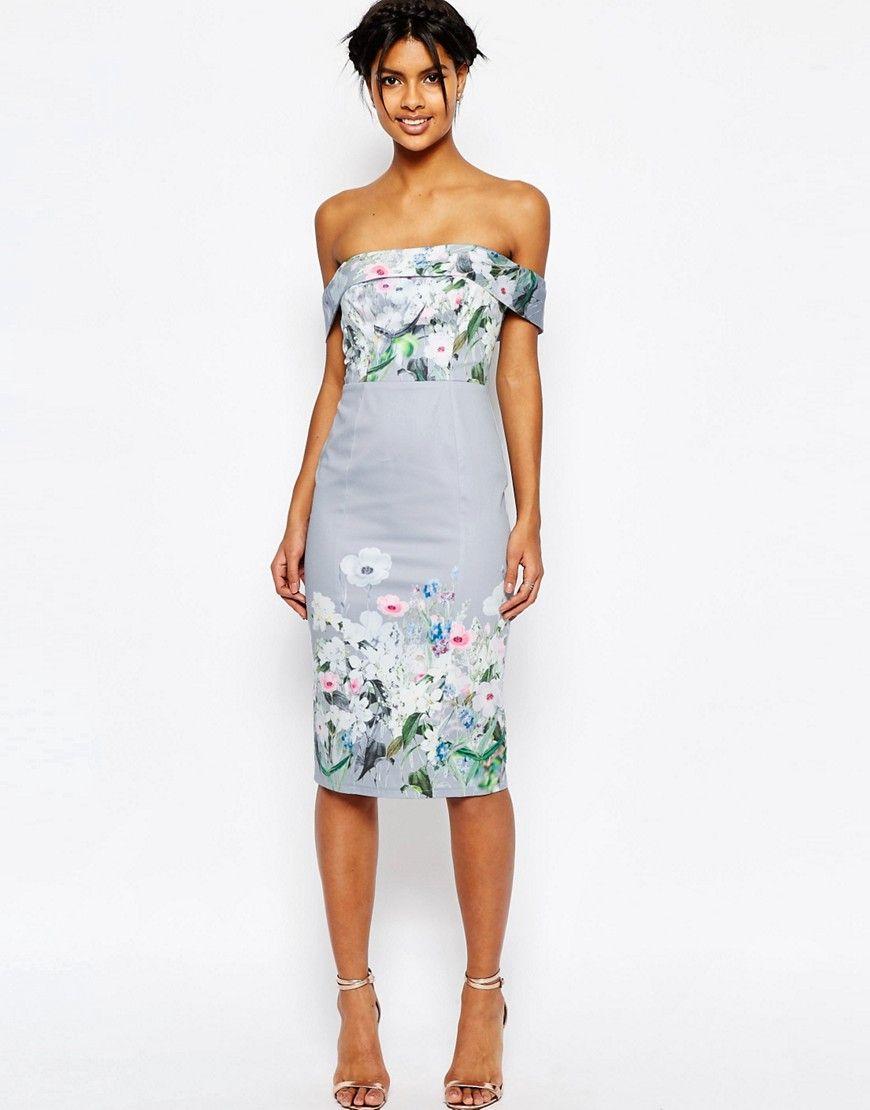 021cc82a097 ASOS Gray Border Floral Midi Pencil Dress - Multi