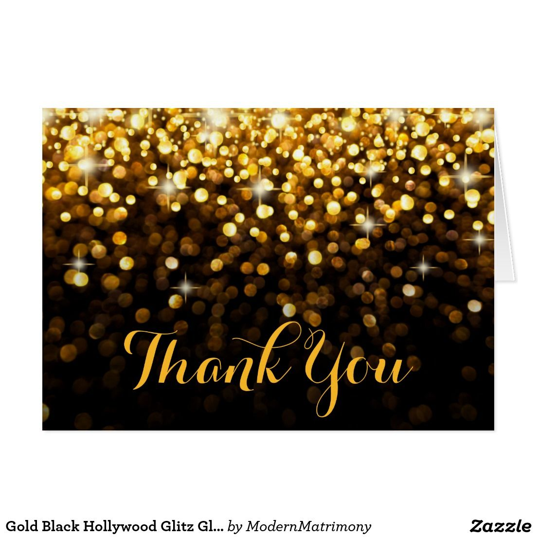 wedding thank you cards time limit%0A Gold Black Hollywood Glitz Glam Thank You Card This dazzling thank you card  is simply stunning