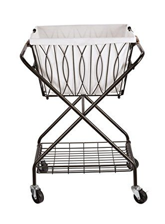 Artesa Verona Collapsible Metal Laundry Cart With Removable Basket