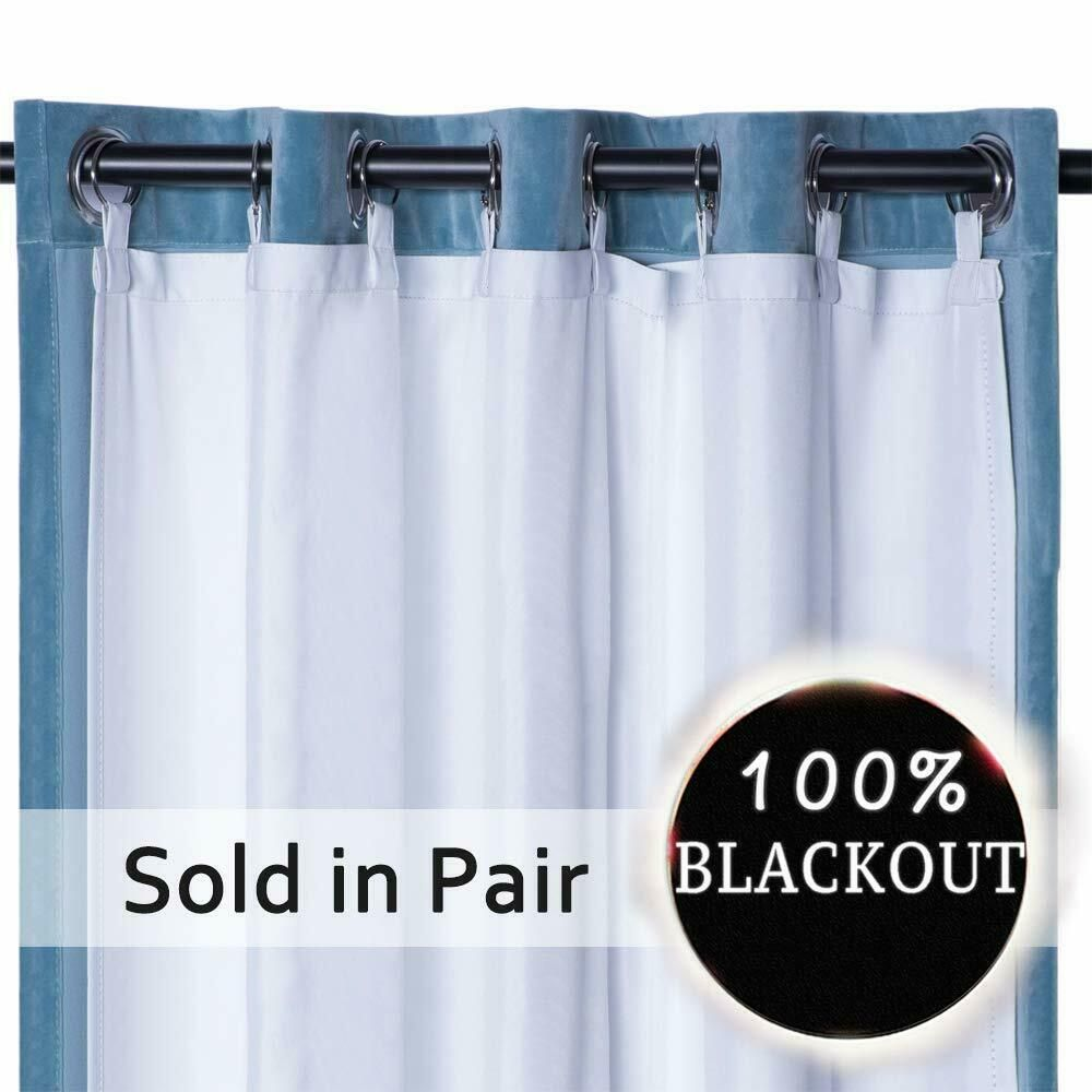 Thermal Insulated Blackout Curtain Liner Panel Grommet Darkening