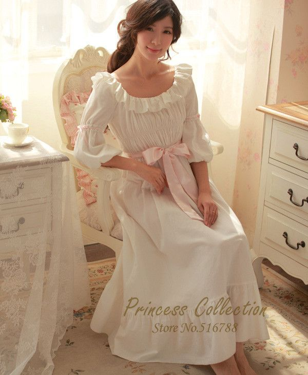 9e2dcf117e Free Shipping 100% Cotton Princess Nightdress Royal Pajamas Long White  Nightgown Women s Sleepwear Ladies pijamas femininos-in Nightgowns    Sleepshirts from ...